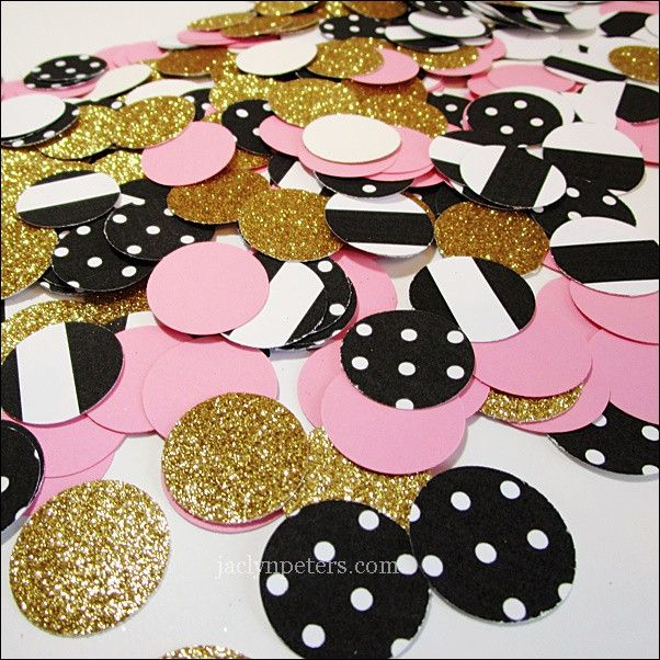 Paris or ballerina theme party tables will sparkle in pink, gold glitter and…