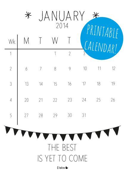 January - printable calendar | Elske | www.elskeleenstra.nl