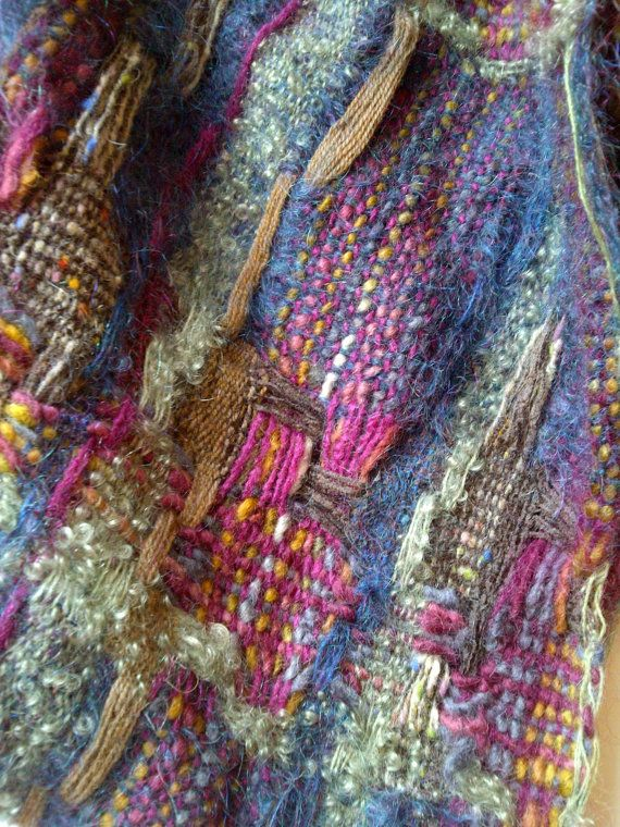 Handwoven shawl - hand dyed extra long shawl, in dark teal, coffee brown, woodbine green and phlox purple