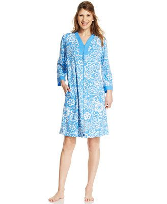 Miss Elaine Interlock Knit Zip Robe, Reg. CAD 86.30, Sale CAD 64.73, Nothing but easy comfort in a soft knit. The Interlock Knit Zip Robe by Miss Elaine features two inset side pockets with a breakaway zipper. Cotton/polyester Machine washable Imported Long sleeves Two inset side pockets Breakaway zipper for easy-on Style #833824
