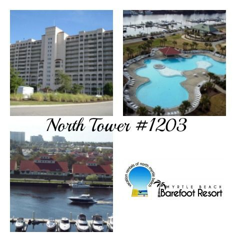 North Tower - Unit #1203 Come stay in this beautifully decorated, spacious 3 bedroom, 3 bath condo, in the prestigious North Tower Building at Barefoot Resort. This villa offers amazing views of the North Tower pool, the Intracoastal Waterway, the Marina and the city of North Myrtle Beach. 👙 🏄🏻 🚣🌴 Call us today at 888-488-8588 to book your next #MyrtleBeachVacation #BeachVacation #FamilyVacation #GrandStrand #GolfVacation #Summer2017 #Golf