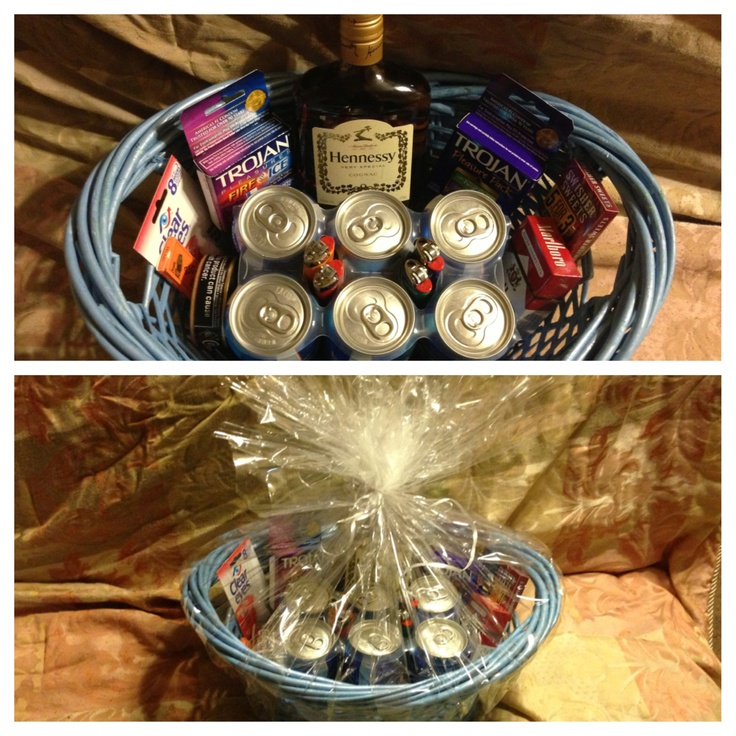 21st Birthday- Bad Habits Basket!  All the birthday boy's favorites; A pint of Hennessy, a 6 pack of Bud Light, Marlboro Reds, Copenhagen-Long Cut, a pack of Swishers, a pack of Zig Zags, Redness Relief Eye Drops, 4 Lighters AND two 3 packs of Condoms!!!! By: April Weiss