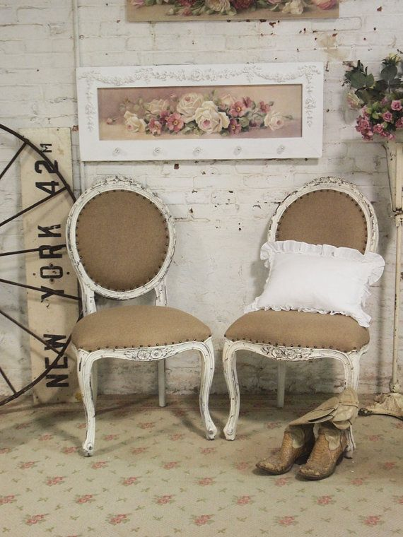 Painted Cottage Chic Shabby White Chair CHR25 by paintedcottages