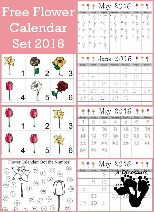 Calendar Preschool Crafts : Free flower calendar card types one with