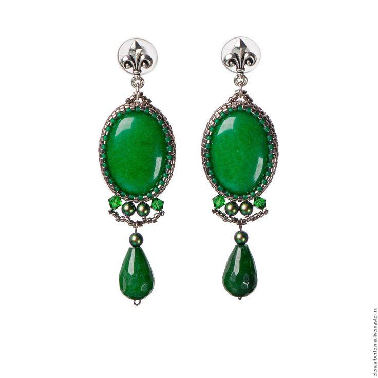 Купить Зеленые серьги. Зеленые хризопразы. Длинные серьги. - зеленый, зеленые серьги, зеленые камни
