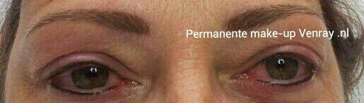 Eyeliners en hairstroke wenkbrauw door Nathalie Salarbux-Rozema, permanente make-up Venray.nl