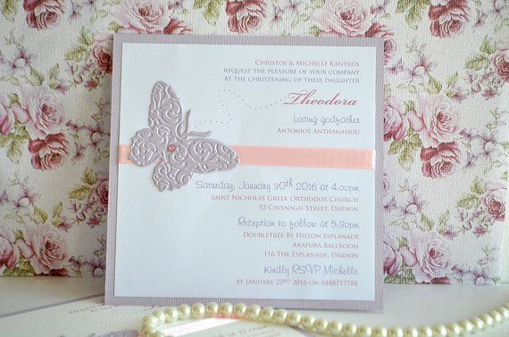 Pink and Lilac Butterfly Baptism / Baby Shower by InvitatiiCouture