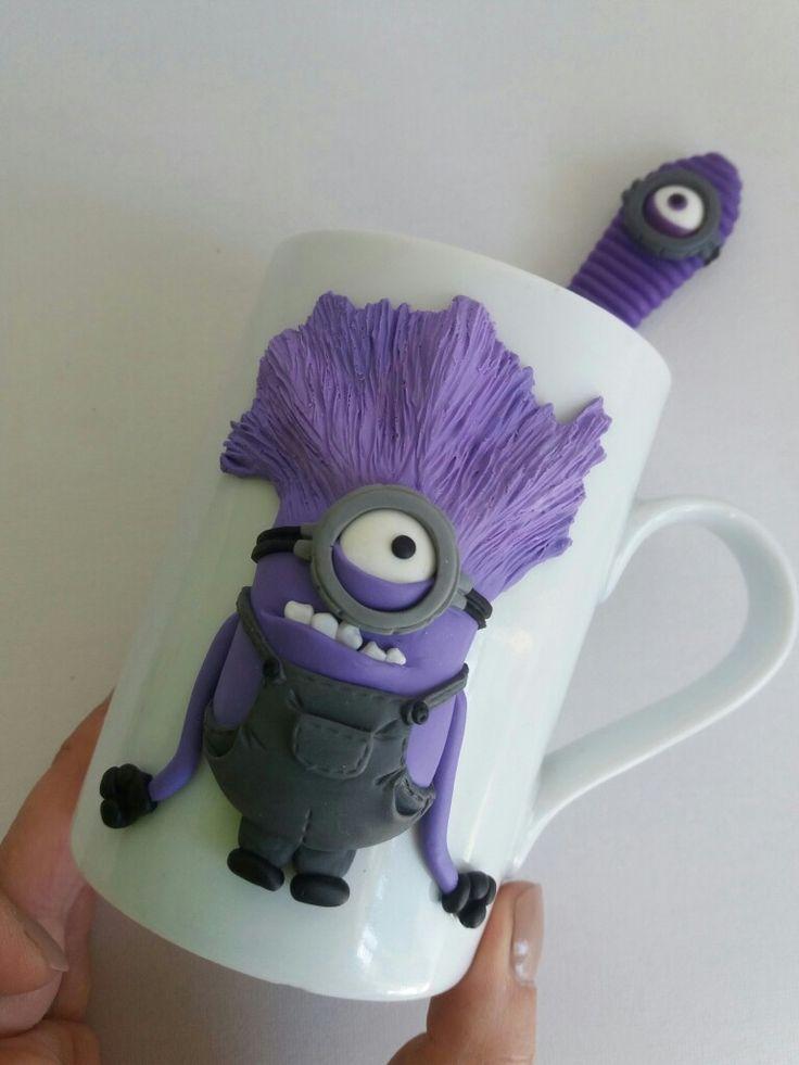 Minion polymer clay mug