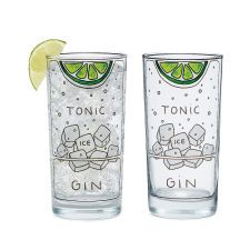 Gin and Tonic Diagram Glassware - Set of 2   highball glass. These highball glasses are illustrated with a diagram for the essential ingredients of a gin & tonic.