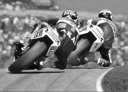 500cc. Sheene Vs. Roberts  Barry Sheene [Akai Yamaha] chases 'King' Kenny Roberts [Factory Yamaha]. Classic 500cc GP action from the early '80s