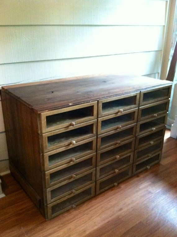Vintage Cabinet With Glass Front Drawers Store By LynorByJessica Love This!