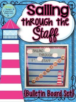 Music Room Bulletin Board: Sailing Through the Staff #musicedchat #musedchat #musicroom