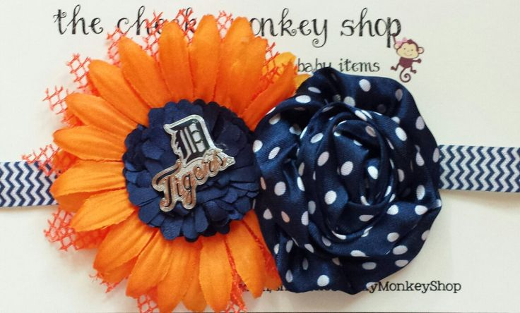 Detroit Tigers baseball blue and orange chevron flower headband by TheCheekyMonkeyShop on Etsy