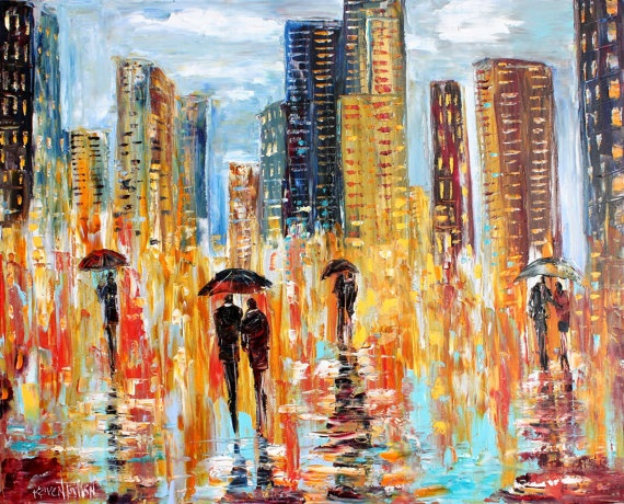 Abstract Night City Rain oil on canvas Palette knife painting by Karensfineart