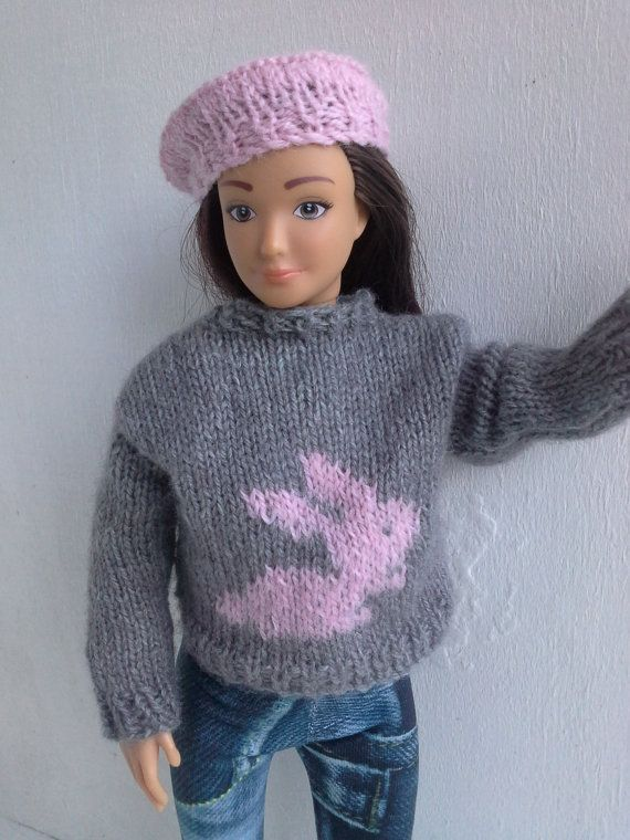 Sweater with bunny for Lammily doll hand knit by magicalcrumbs