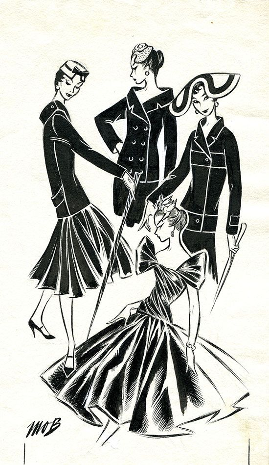Margaret Oliver Brown fashion illustration (archive reference: DC/51/2/12).