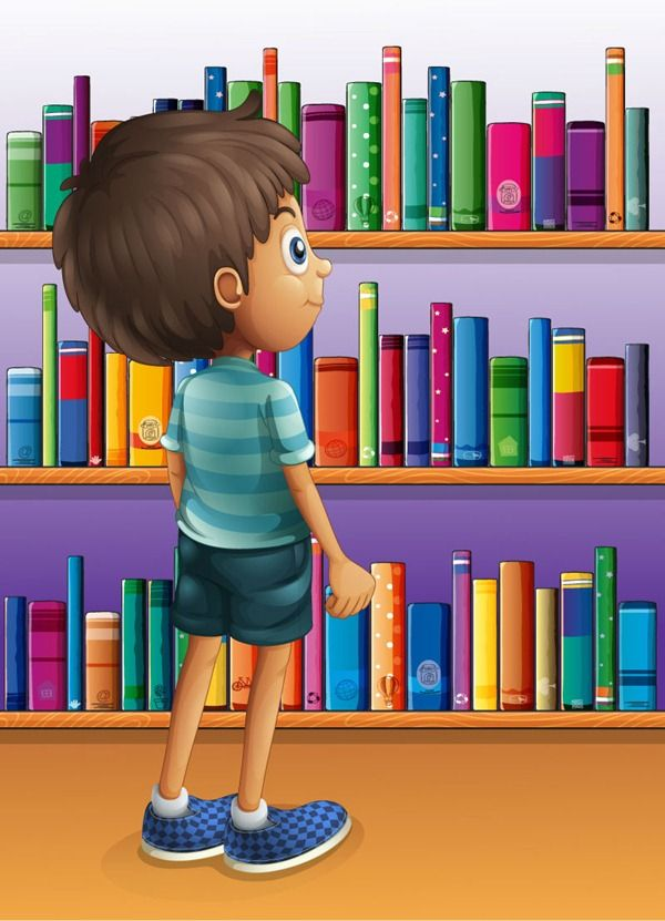 Cartoon books with boys illustrator – vector graphics