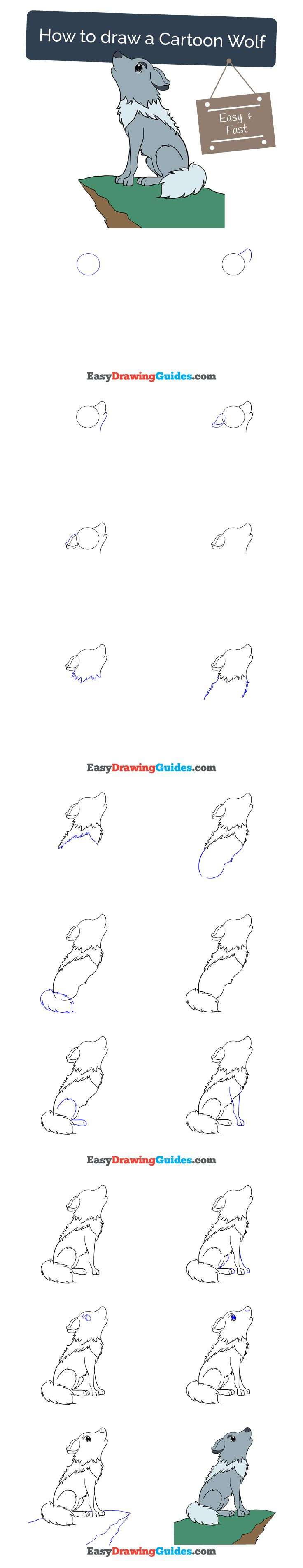 Learn How To Draw A Cartoon Wolf: Easy Stepbystep Drawing Tutorial
