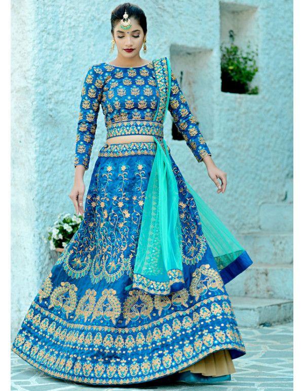b55d0084a0 Harbour Blue Embroidered Silk Lehenga Choli in 2019 | anitha ...