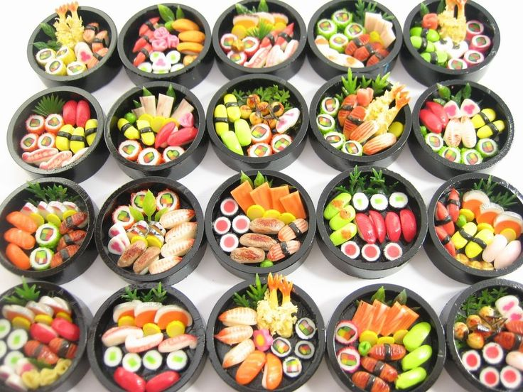 DollHouse Miniatures Japanese Food 20 Set Round Sushi Wooden Box WHOLESALE 12922 #Unbranded