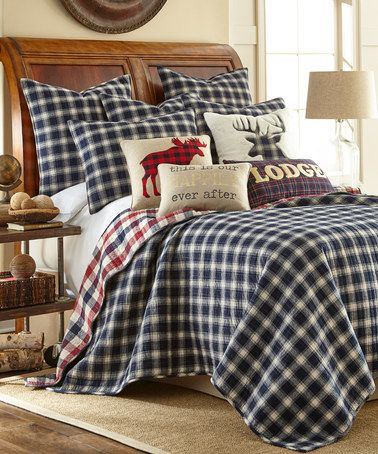 Love this Navy & Red Plaid Lodge Reversible Quilt Set on #zulily! #zulilyfinds