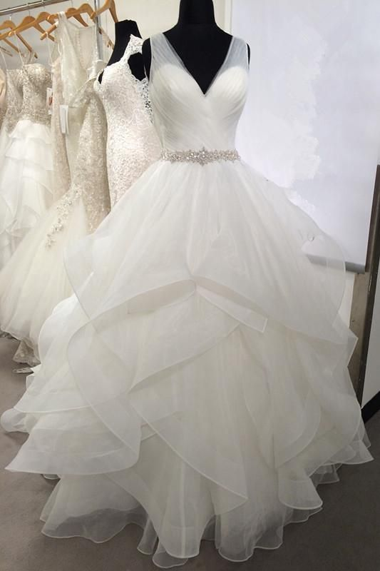 e9dfc94d112 V-neck Tulle Wedding Dresses with Volume Layers Horsehair Trim ...