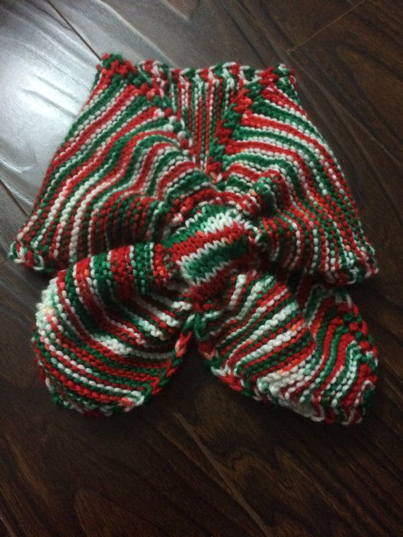 Candy Cane Adult Loop Scarf, Neck Warmer, Hand Knit, Variegated Red, White & Green,Unisex, Cozee Quilts