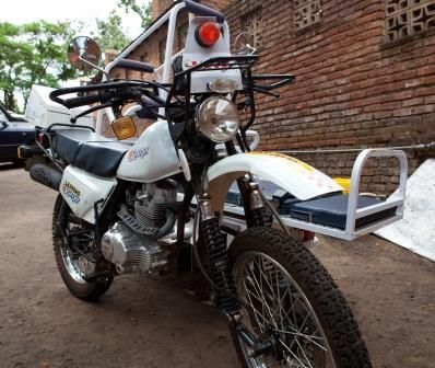Thanks to a generous cbm donor, this motorcycle ambulance finds, transports and treats people who are unable to get to the hospital in #Malawi on their own.