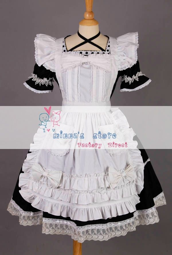Free shipping Short Sleeves Lace Trim Cotton Lolita Dress Maid Cosplay Costume US $78.99