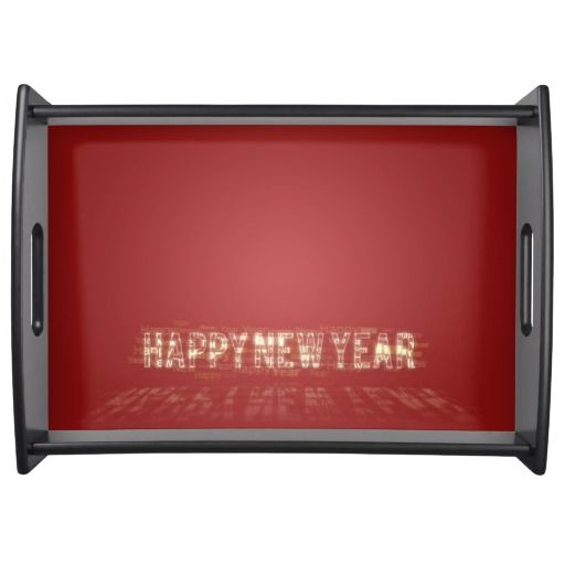 #Gold #Happy #New #Year #Serving #Tray for u at www.zazzle.com/superdumb #newyear #golden