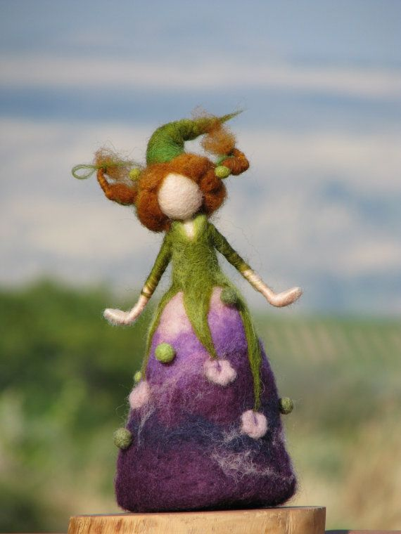 Needle felted Waldorf inspired flower doll