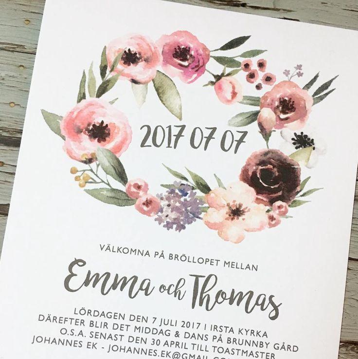 Floral - Inbjudningskort till bröllop eller fest. www.annagorandesig.se