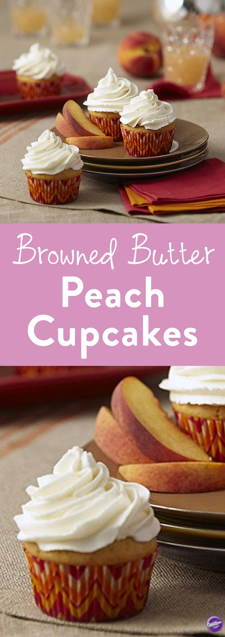 Browned Butter Peach Cupcakes Recipe - Bake the perfect summertime snack with these Browned Butter Peach Cupcakes. Replacing plain butter with browned butter adds a nutty, toasted flavor that softens the bright, floral notes of Juicy Peach Flavor Concentrate ever-so-slightly, making this one sophisticated cupcake.