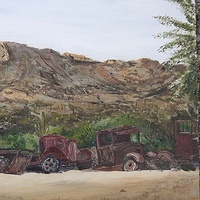 Old cars and Trucks 2  Oil On Board 9 X 12 Ins  Old cars and Trucks at Goldfield Ghost Town, Apache Trail, Arizona