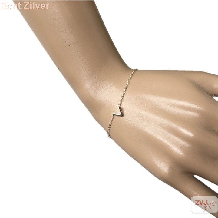 Zilveren mini v armband chevron - ZilverVoorJou Echt 925 zilveren sieraden