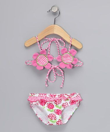 This Pink Posy Flower Bikini - Infant, Toddler & Girls by Sweet Potatoes is perfect! #zulilyfinds