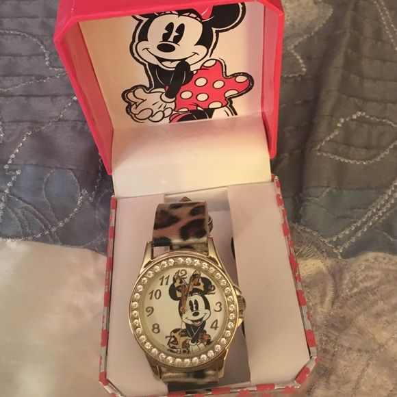HPMinnie mouse watch. Women's minnie mouse watch with leopard band. Accessories Watches