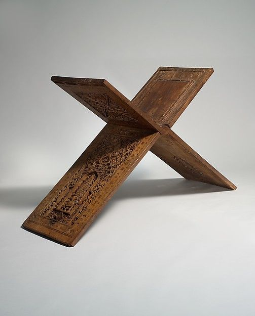 """Stand for a Qur'an Manuscript"" (ca. 1360 CE), by Zain Hasan Slaiman Isfahani. Iran, Central Asia. Teak Wood, carved, painted, and inlaid. Rogers Fund, 1910. Posted on metmusem.org."