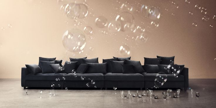 """Mr. Big sofa by danish design duo Says Who. Here shown in our velour fabric """"Ritz"""" in colour grey."""