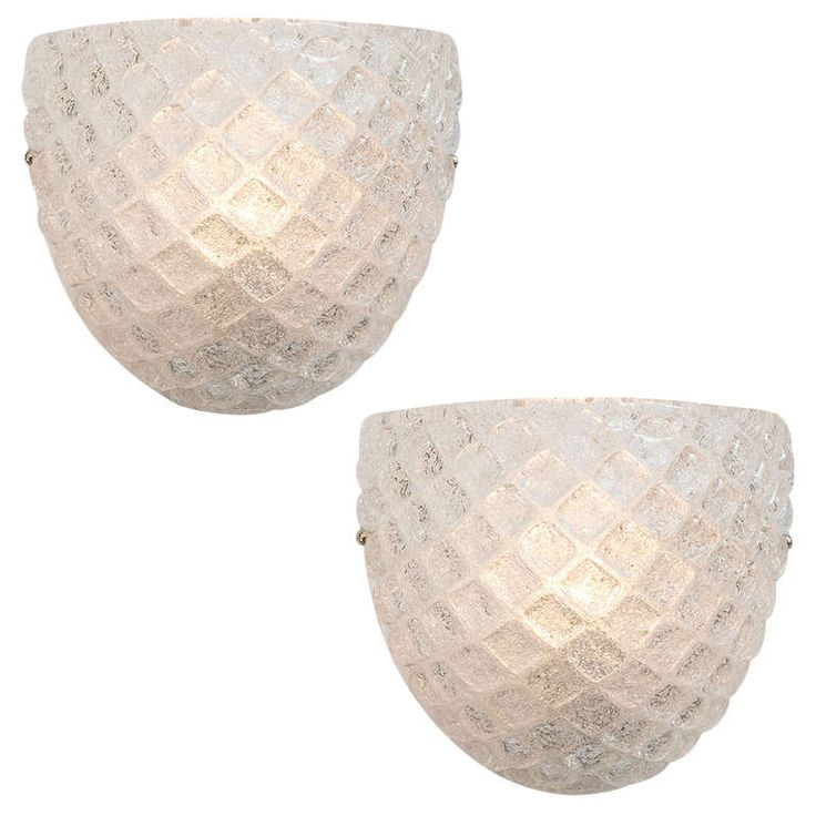 "Pair of Murano ""Graniglia"" Glass Cup Sconces 