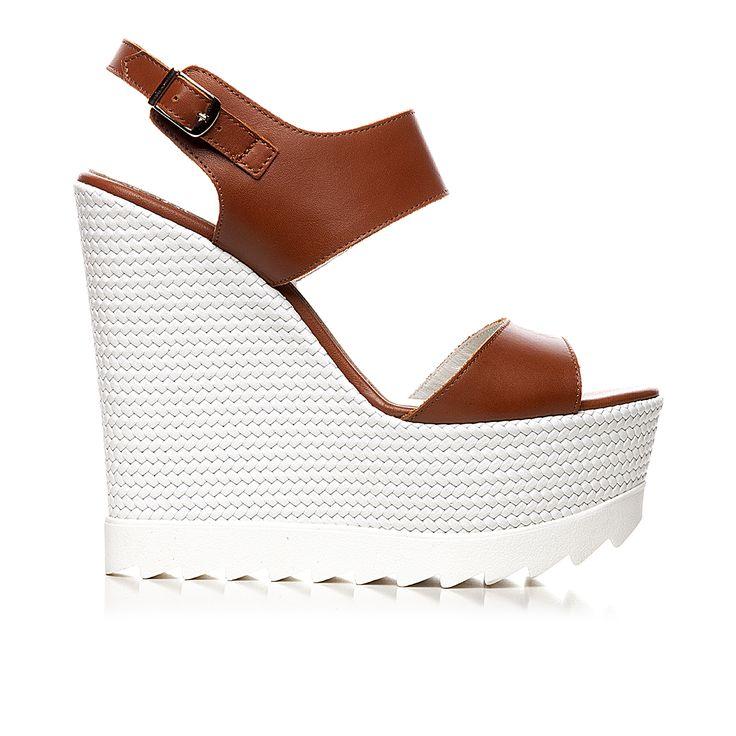 Code: 850G09 Heel height: 13 cm www.mourtzi.com  #wedges #whitesole