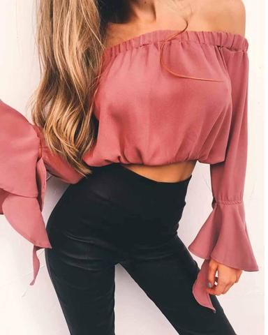 c9879cdc00a Dusty Pink Off the Shoulder Bell Sleeve Crop Bardot Top | Outfits ...