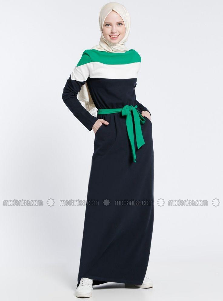 Unlined - Crew neck - Navy Blue - Green - Cotton - Dress - Benin