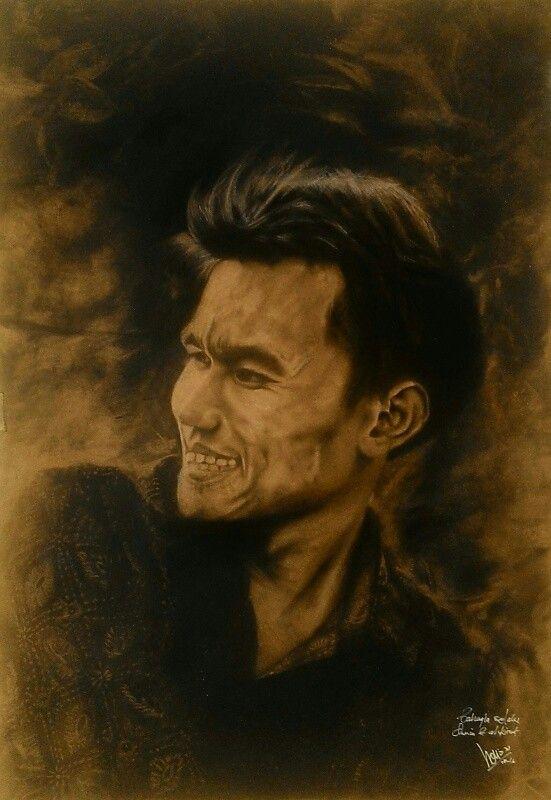 Satiawan Soni, charcoal on paper 79x55cm.