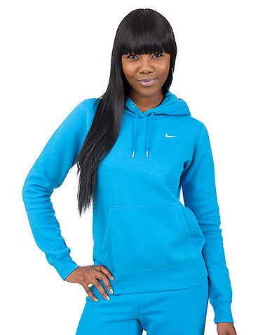 NIKE Fleece hoodie Drawstring closure Embroidered signature NIKE swoosh on chest Front pocket detail Long sleeve design