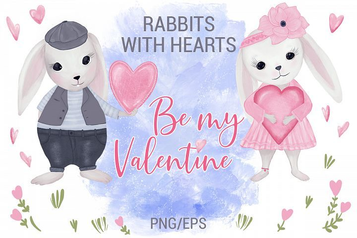 Download Rabbits With Hearts Valentine S Day 419497 Illustrations Design Bundles In 2020 Valentines Card Making Hand Painted