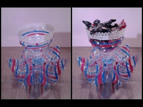 Best out of waste plastic decorative candy cup youtube for Decorative items from waste bottles