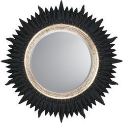 Paragon Round Black with Gold Contemporary Wall Mirror | Wayfair