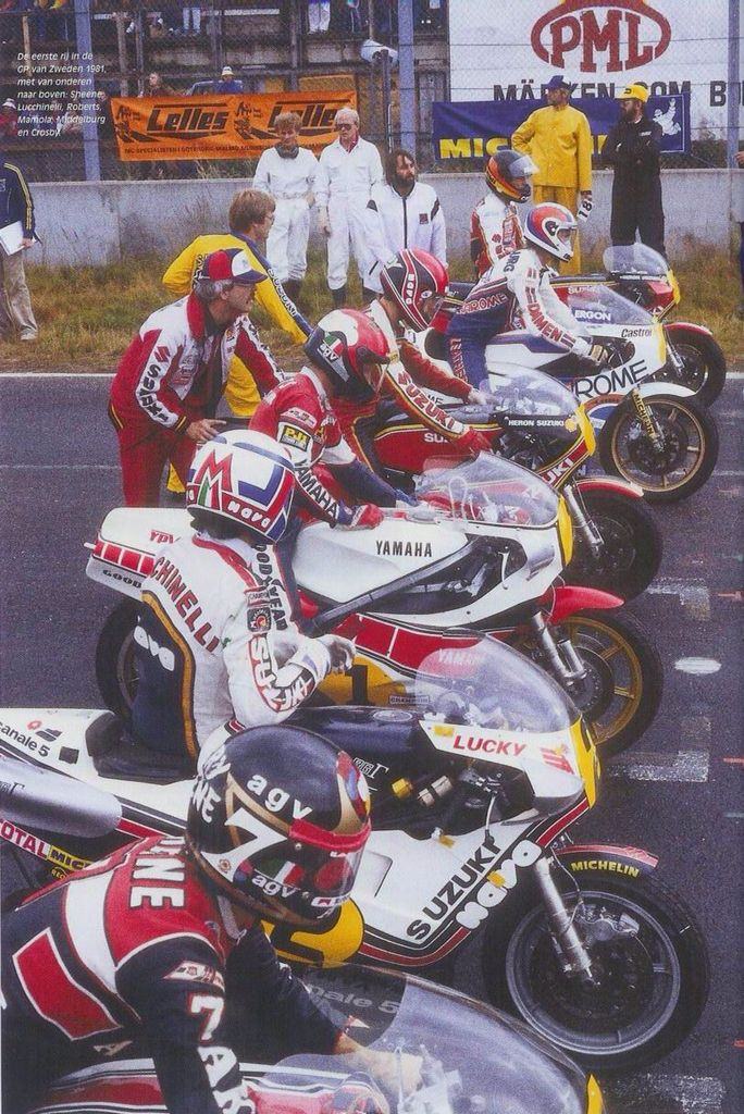 First líne Legends Sheene, Lucchinello, Roberts, Mamola, middleburgh, Graeme Crosby