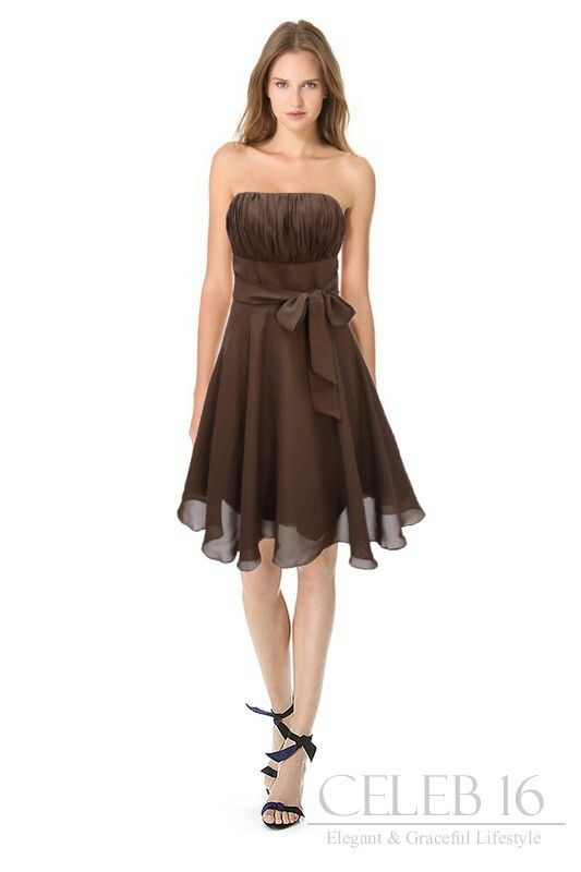 Satin brown bridesmaid's dress.